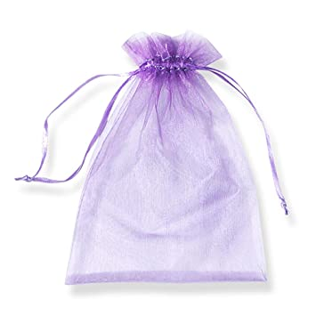PLECUPE 100 Pcs Bolsa Organza Organza Bags, 7x9cm Transparente Organza Joya Bolsas Fiesta de Boda Bolsas de Regalo - Púrpura#1