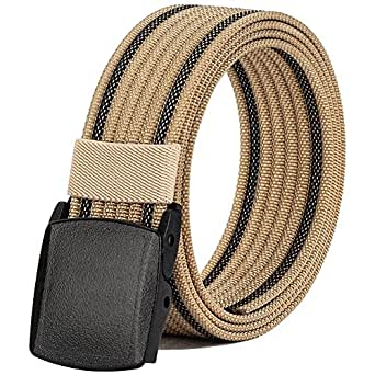 "Men's Nylon Belt, Military Tactical Belt with YKK Plastic Buckle, Durable Breathable Canvas Belt for Work Outdoor Cycling Hiking Skiing,Adjustable for Pants Size Below 46inches[53""Long1.5""Wide] (Beige)"