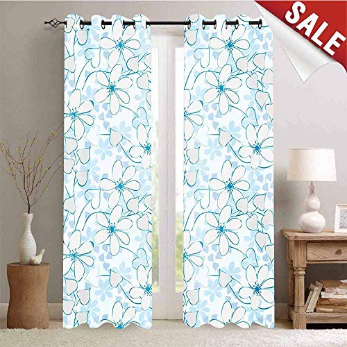 Room Darkening Wide Curtains Abstract Flowers with Heart Shaped Leaves Romantic Fresh Beauty in Nature Waterproof Window Curtain W72 x L108 Inch Pale Blue Aqua White ()