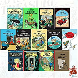 The Adventures Of Tintin Books Collection Series 3 To 5 13 Set Red Rackhams Treasure Seven Crystal Balls Prisoners Sun Land Black