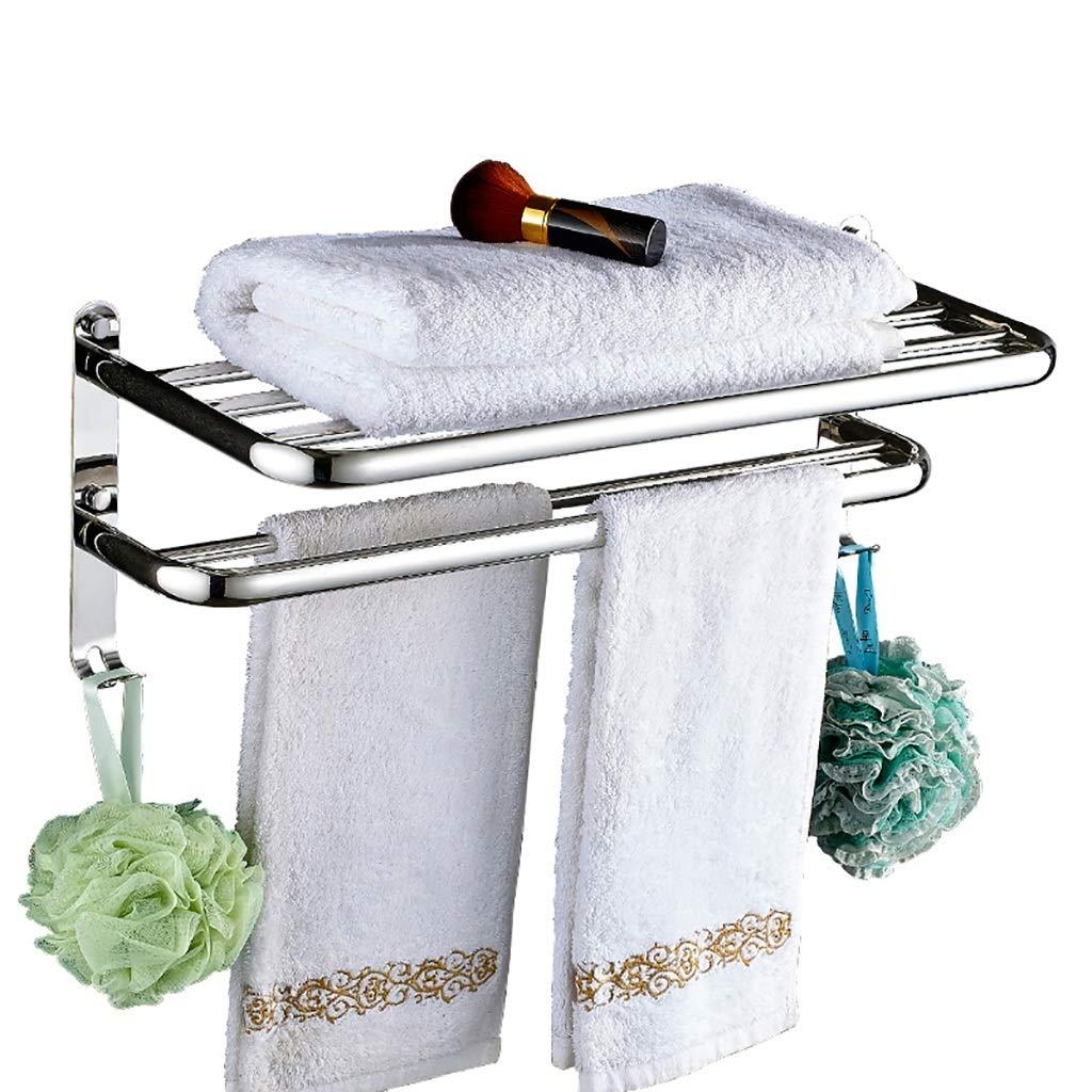 WPWY 304 Stainless Steel Towel Rack Bathroom Towel Rack Toilet Rack with Hook (Size : 57.5cm)