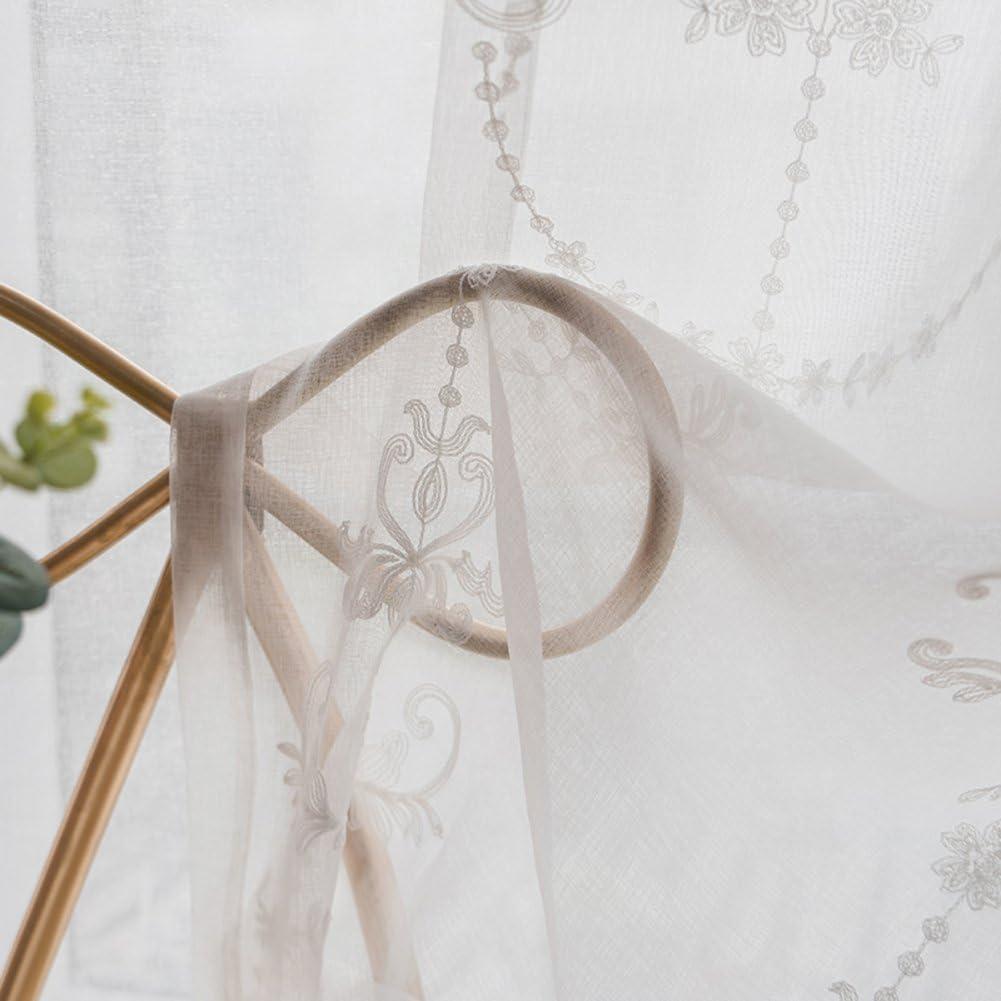 59x104inch Bianca Tende di Pizzo Ricamo Tenda in Tulle per Soggiorno Balcone Ombreggiatura Decorazione Gli schermi della Finestra-Bianca 150x265cm