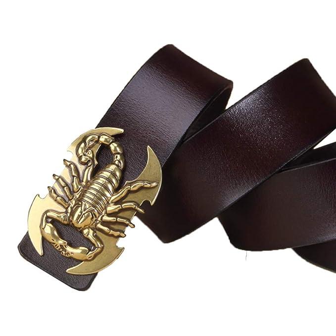 ES-AP Cinturón de piel de vaca para hombre e1da7f0d19da