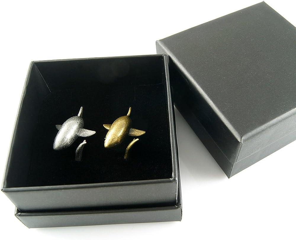 Ellenviva Big Shark Adjustable Animal Wrap Ring 2 Piece Set Vintage Silver and Gold Tone