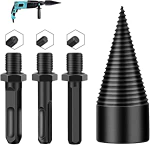 3pcs Wood Splitting Drill Bit, Removable Firewood Drill Bit Wood Splitter, Heavy Duty Drill Screw Cone Driver-Log Splitter Screw Cone Kindling Firewood Splitter for Household Electric Drill (32mm)