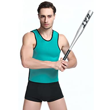 83337310dbf queenral Neoprene Men Control Tank Top Sport Corsets Vest Shapewear  Reversible Blue  Amazon.co.uk  Clothing