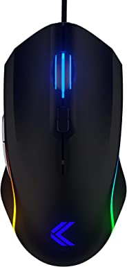 KINESIS Gaming Vektor RGB Mouse - Wired Adjustable to 5000 DPI - 6 Programmable Buttons - Dual-Zone RGB Lighting - Contoured