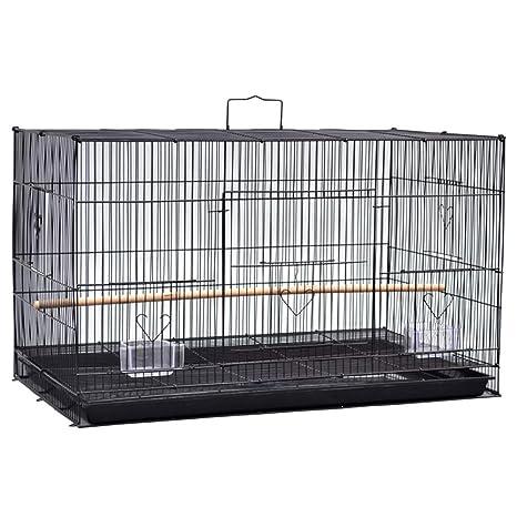 LIPETLI Jaula para Pájaros Jaula de Cría de Metal Negro para ...