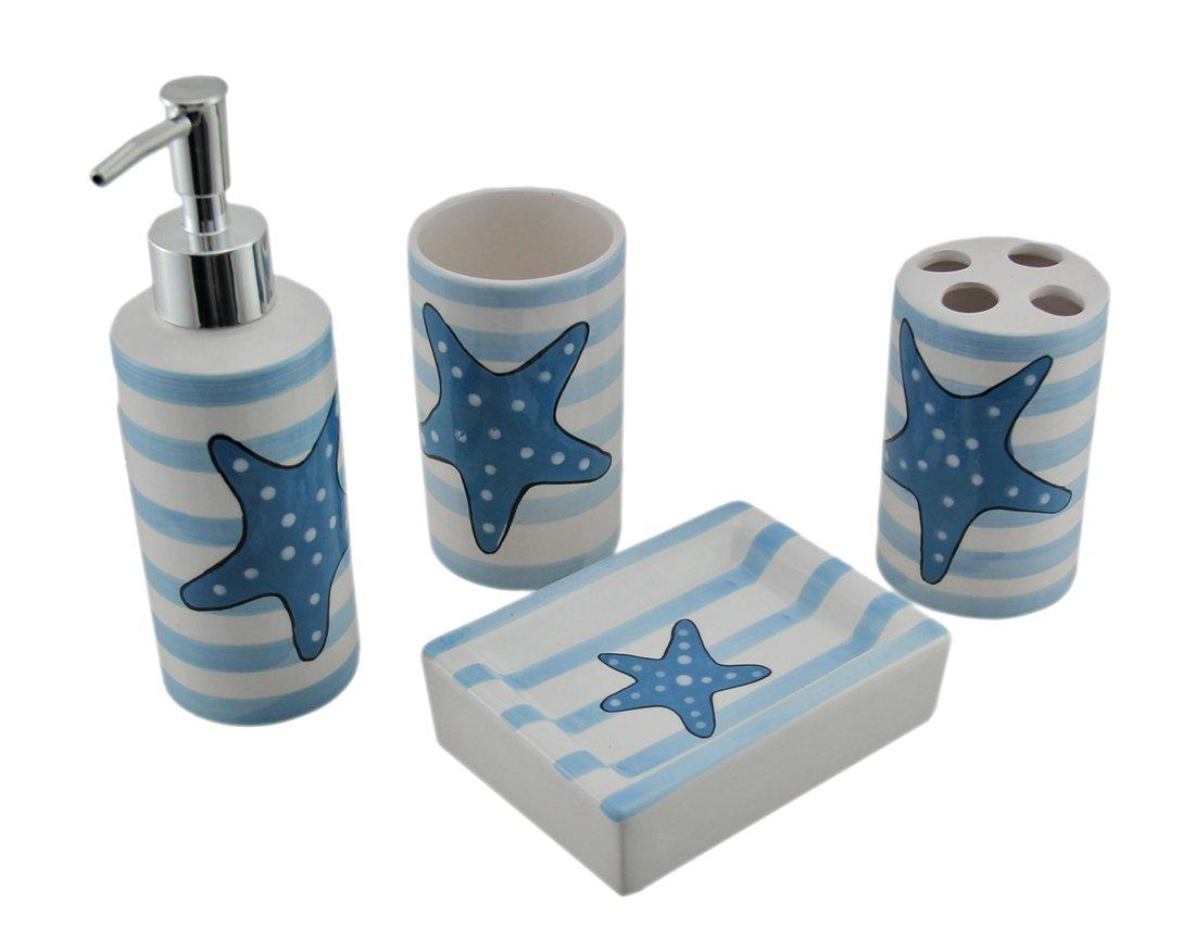 Zeckos Ceramic Bathroom Accessory Sets Blue and White Striped Starfish 4 Piece Ceramic Bathroom Accessory Set 3 X 7.75 X 2.5 Inches Blue