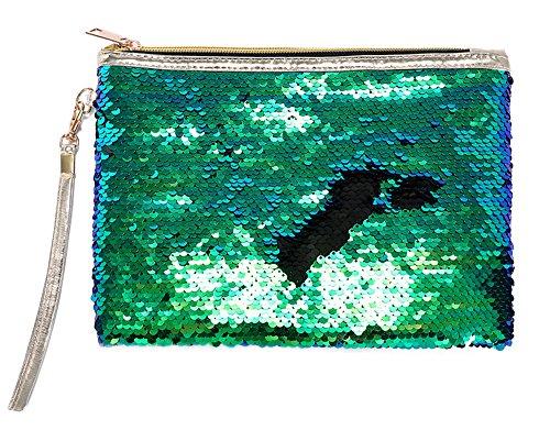 ROOSSI Mermaid Sequins Cosmetic Bag Bling Clutch Handbag Evening Clutch Envelope Bag Zipper Makeup Green
