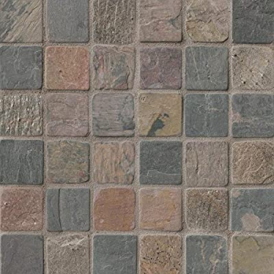 Mixed Color 12 In. X 12 In. X 10mm Tumbled Slate Mesh-Mounted Mosaic Tile, (10 sq. ft., 10 pieces per case)