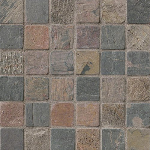 Cut Tile Flooring Tumbled - M S International Mixed Color 12 In. X 12 In. X 10mm Tumbled Slate Mesh-Mounted Mosaic Tile, (10 sq. ft., 10 pieces per case)