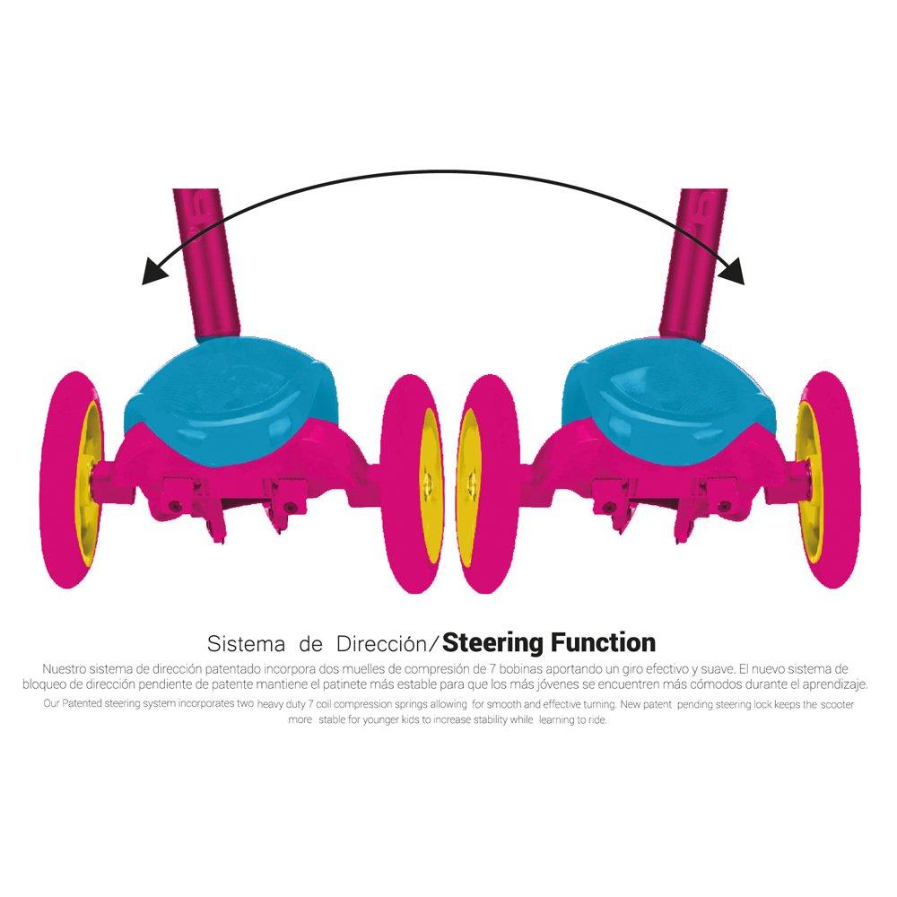 Park City Deluxe LED Special Edition Patinete 3 Ruedas con Luces, Unisex niños, Rosa, 120 mm