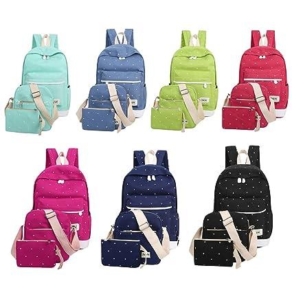 00185ba89 Tulas Fresh Canvas Women Backpack Big Girl Student Book Bag with Purse  Laptop 3pcs Set Bag