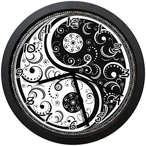 - BCWAYGOD Delicate Black and White Paisley Ying and Yang Icon Round 12
