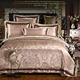 MeMoreCool Top Grade European Style Luxury 100% Cotton Satin Wedding Bedding Sets,Jacquard Duvet Cover,Gifts for Friends and Families,Flat Sheet,4Pc,Queen,Khaki