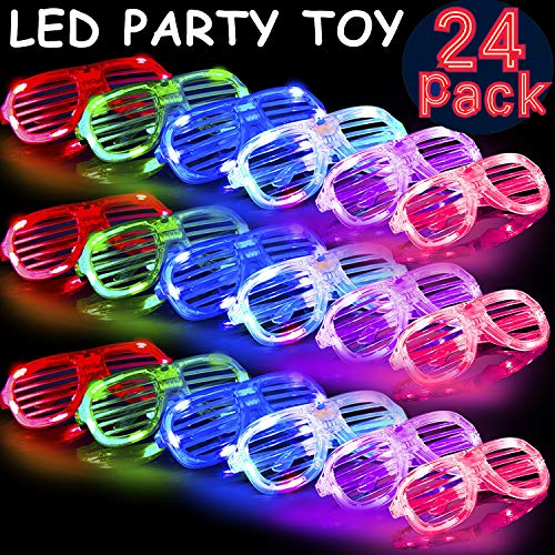 24 Pack Party Favors LED Glasses, 6 Color