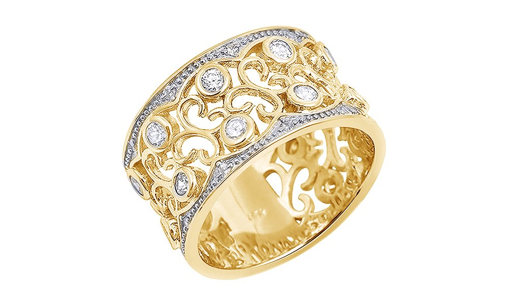 Jewel Zone US White Cubic Zirconia Floral Design Wide Band Ring In 14k Yellow Gold Over Sterling Silver