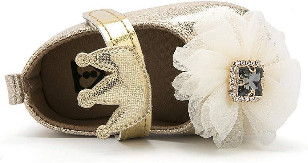BubbleColor Baby Girls Dress Shoes Infant Toddler Prewalker PU Anti-Slip Soft Sole Flower Mary Jane Party Princess Crib Shoes
