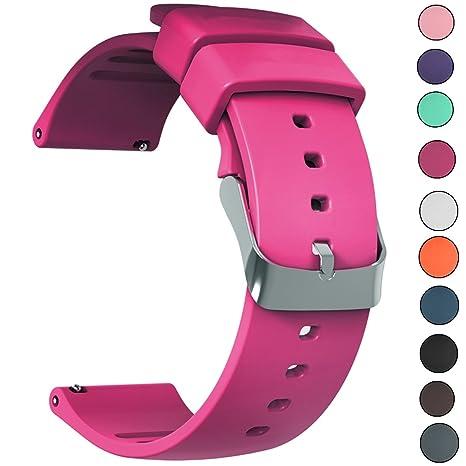 d77480f62fb3 JIELIELE Correa Silicona Reloj Correa Suave Reemplazo de Banda con Acero  Inoxidable Hebilla Correas de Cuero