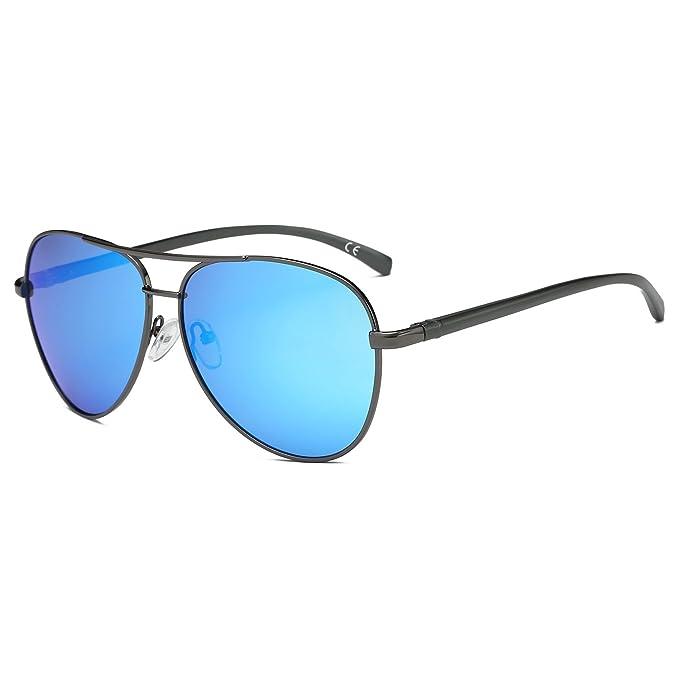 AMZTM Clásico Retro Moda Polarizadas Aviador Gafas De Sol Para Mujer Y Hombre Puente Doble Al