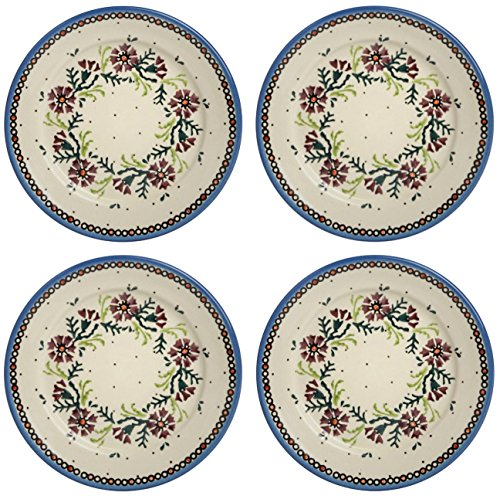 - Polish Pottery Watercolor Floral Purple Salad Plates, Set of 4 (8
