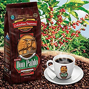2LB Cafe Don Pablo Gourmet Coffee Colombian Supremo - Medium-Dark Roast Coffee - Whole Bean Coffee - 2 Pound ( 2 lb ) Bag