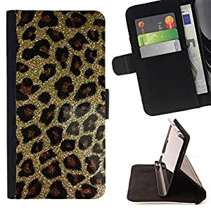 For Samsung Galaxy S6 active/G870A/G890A (Not Fit S6) Gold Bling Glitter Leopard Pattern Fur Style PU Leather Case Wallet Flip Stand Flap Closure Cover