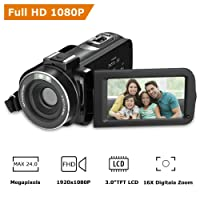 "RegaMoudal Full HD 1080P VideoCamera ,Camcorder Digitale da 24MP Zoom Digitale 16X ,3 "" Schermo LCD 270 ° Grandangolare Nero"