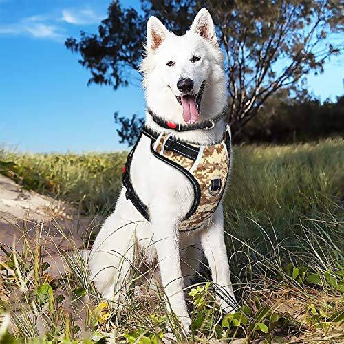 Babyltrl Large Camo Dog Harness No Pull Adjustable Pet Reflective Oxford Soft Vest for Large Dogs Easy Control Harness (Dog Collar Included) (XL, Camo)