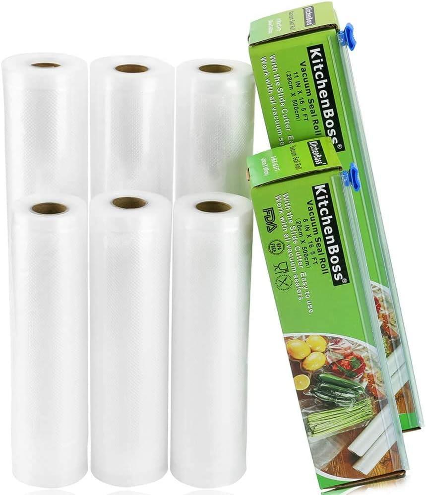 KitchenBoss Vakuumrollen mit Cutter-Box,4 Rollen 15x500 und 20x500cm Folienrollen BPA-Frei f/ür alle Vakuumierer stark /& rei/ßfest /& kochfest /& wiederverwendbar f/ür Sous Vide