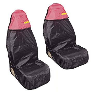 Car Seat Cover Waterproof Nylon Front 2 Protector RED fits Peugeot 106 206 306