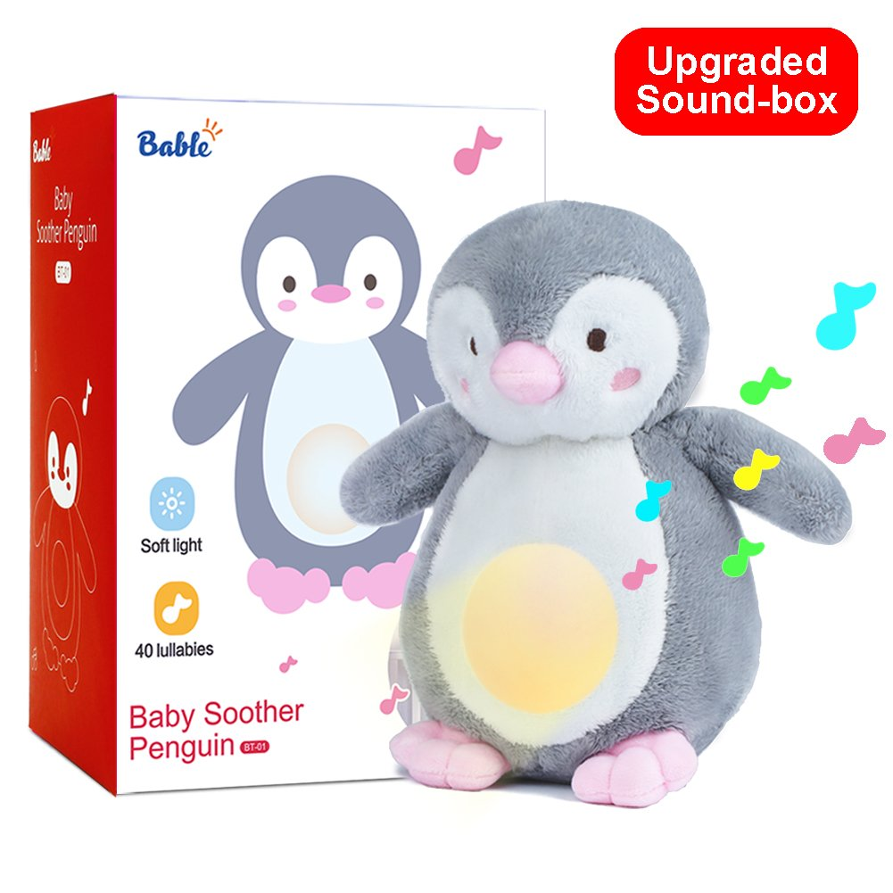 Baby Shower Gifts with Night Light Sleep Aid, Shusher White Noise Sound Machine with 40 Lullabies, Soother Portable Soft Stuffed Animal (9.5in)