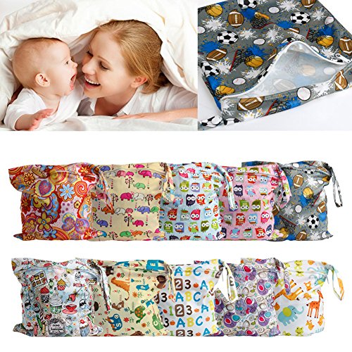 MEXUD Baby Protable Nappy Zipper Diaper Bag Washable Nappy Wet Dry Cloth Waterproof (5#)