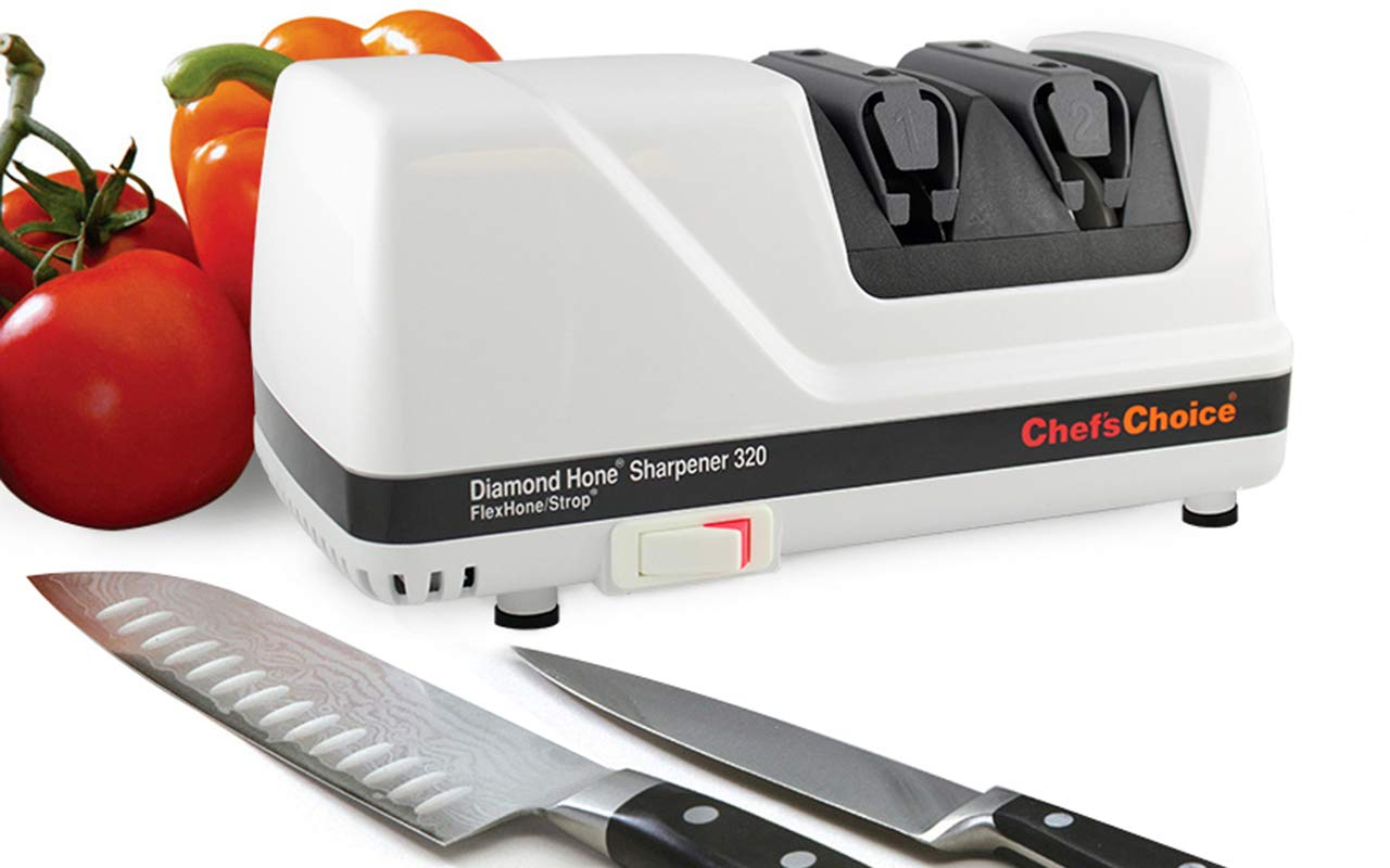 Chef'sChoice 320 Diamond Hone FlexHone Strop Professional Compact Electric Knife Sharpener with Diamond Abrasives and Precision Angle Control, 2-Stage, White by Chef'sChoice