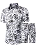 PASOK Men's Floral 2 Piece Tracksuit Casual Button Down Short Sleeve Hawaiian Shirt and Shorts Suit