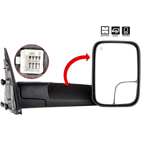 Power Mirror For 2003-09 Dodge Ram 3500 Towing Manual Fold Chrome Dual Glass 2Pc