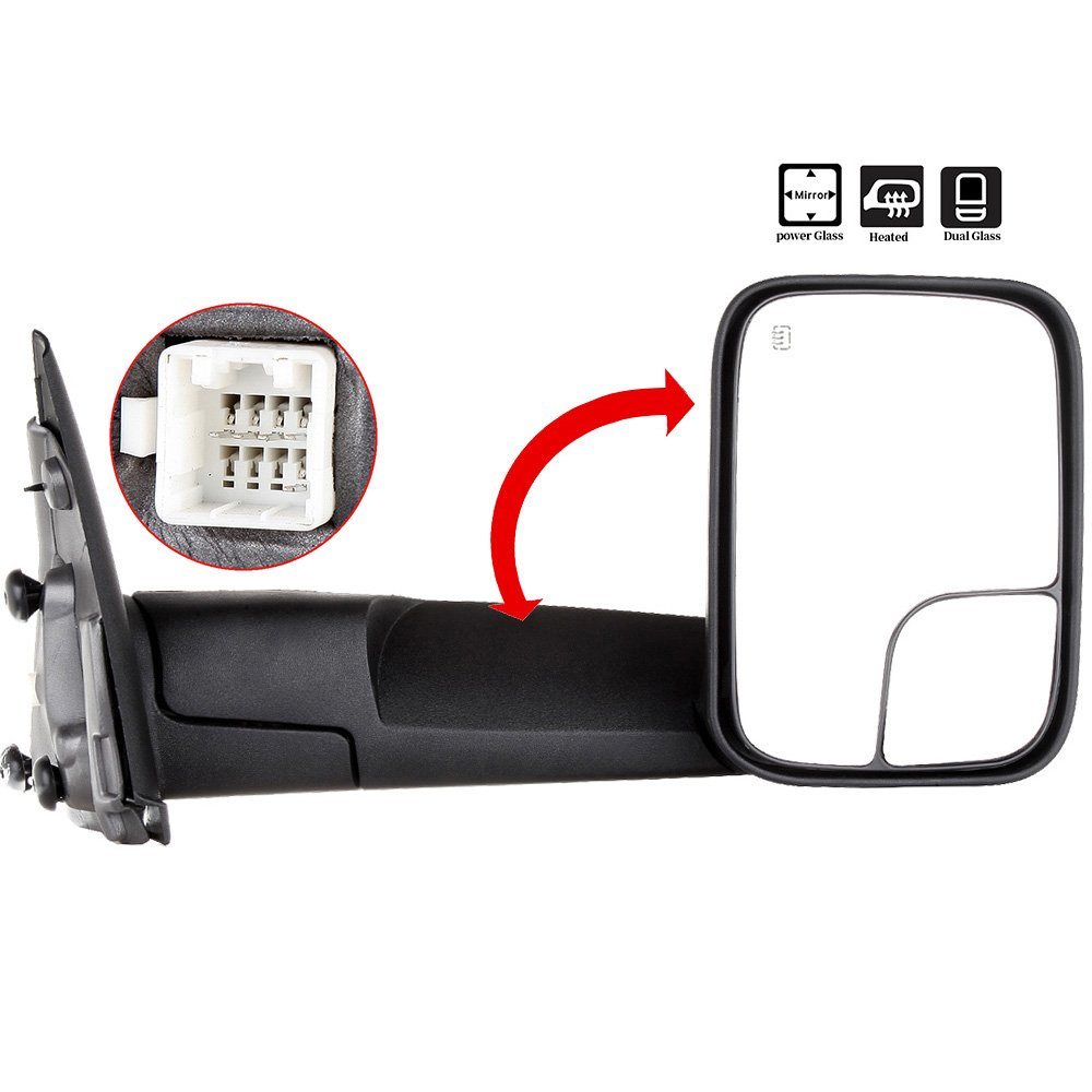 SCITOO Side Mirror fit Dodge Tow Mirror Passenger Side Rear View Mirror 2002-2008 Dodge Ram 1500 2500 3500 Power Control Heated Manual Telescoping Manual Folding Feature Car Mirror by SCITOO
