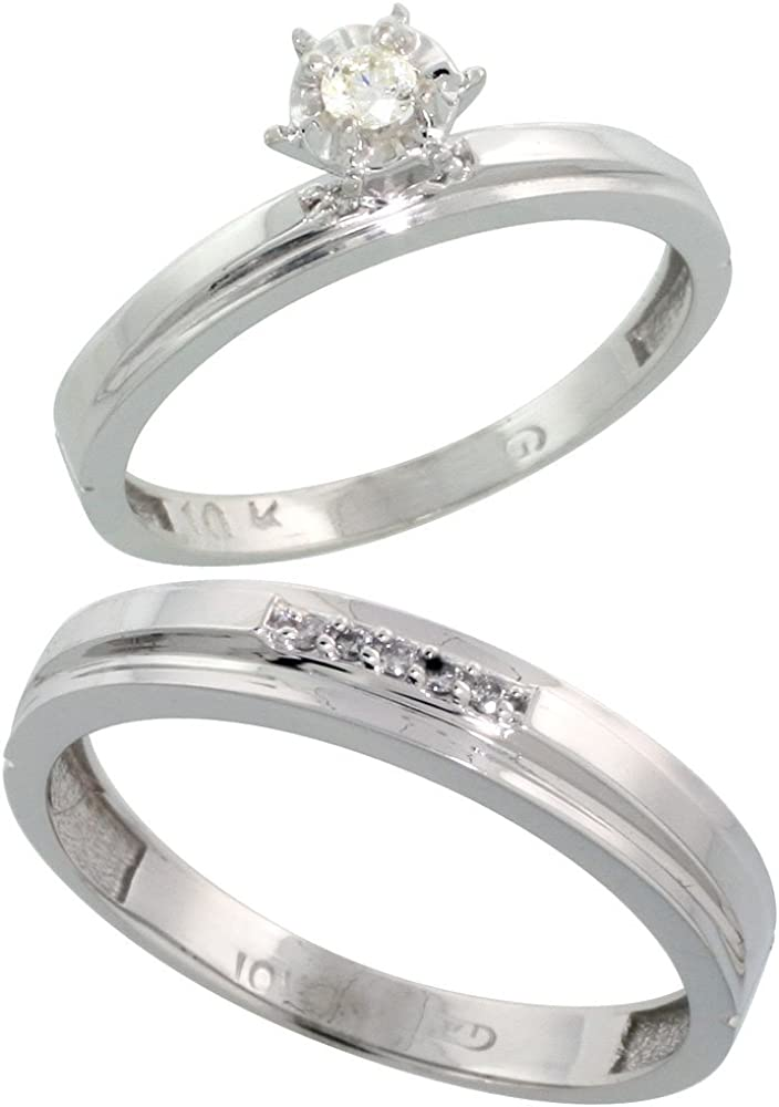Sterling Silver 2-Piece Diamond wedding Engagement Ring Set for Him and Her Rhodium finish 4.5mm /& 5mm wide