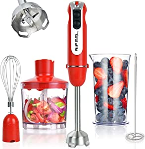 AIFEEL 5 in 1 Set 800W Hand Blender Immersion Stick Blender with Milk Frother, Whisk, 500ML Chopper and 600ML Beaker for Infant Food, Smoothies, Sauces and Soups, BPA-Free - Red