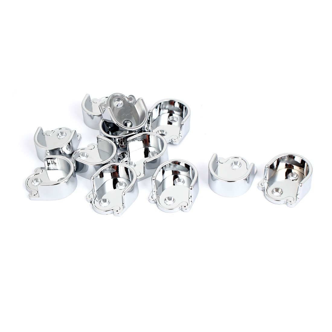uxcell 25mm Dia Clothes Closet Rod Flange Holder Bracket Silver Tone 12pcs by uxcell (Image #1)