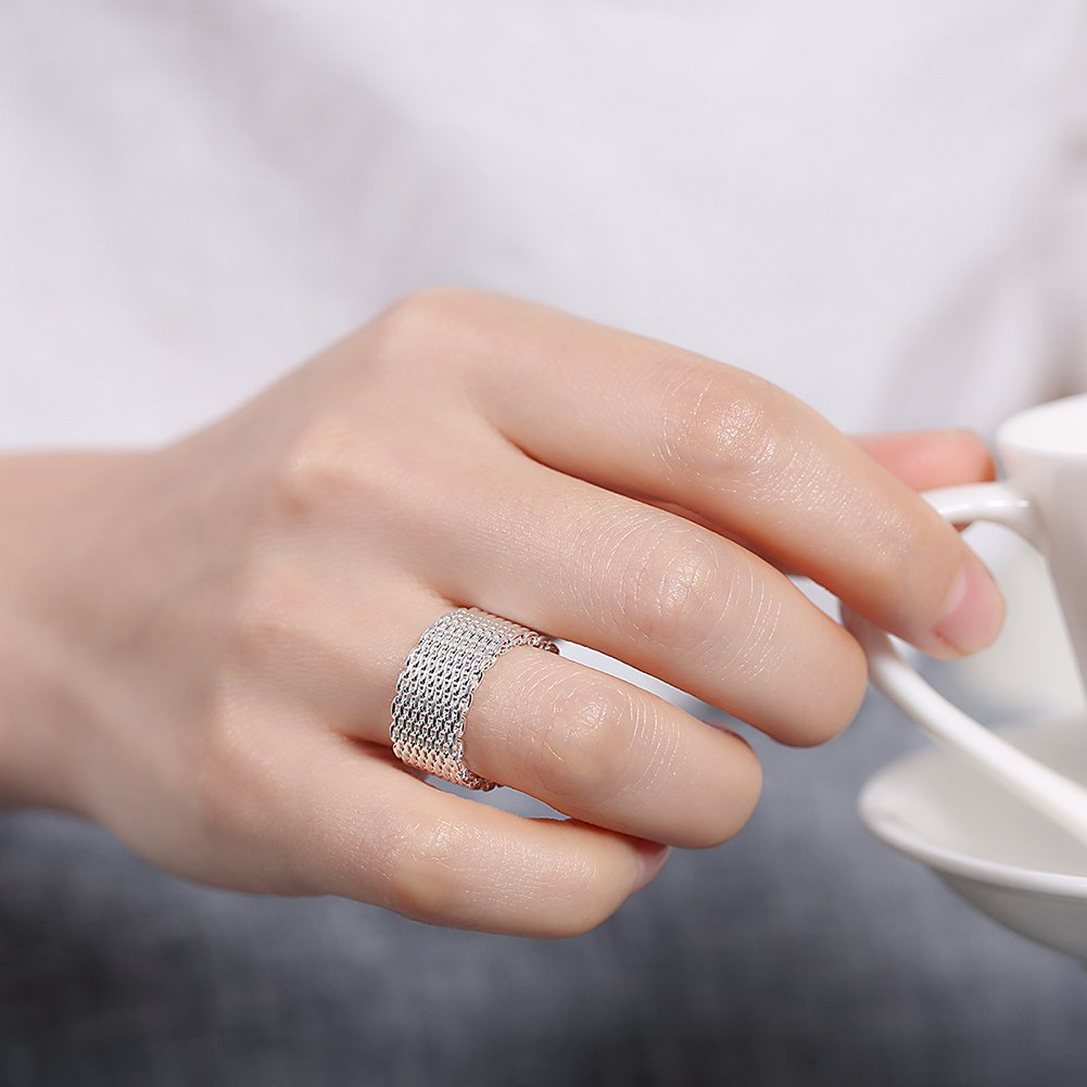 Fashion Jewelry Womens 925 Sterling silver Plated Net Rings: Amazon ...