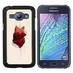 Qstar Arte & diseño plástico duro Fundas Cover Cubre Hard Case Cover para Samsung Galaxy J1 J100 (Lobo Forrest)