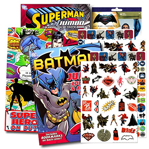 Super Heroes Coloring Books - Bendon Publishing DC Comics Batman & Superman Coloring And Activity Book Set - Two 96 -page Coloring Books, Stickers and Superhero Door Hanger