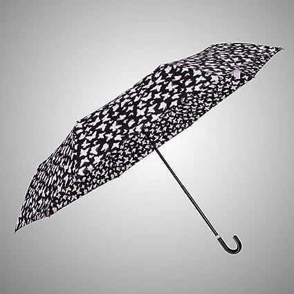 BiuTeFang Paraguas mango curvo súper ligero sombrilla paraguas soleado protección UV sombrilla paraguas mariposa paraguas plegable