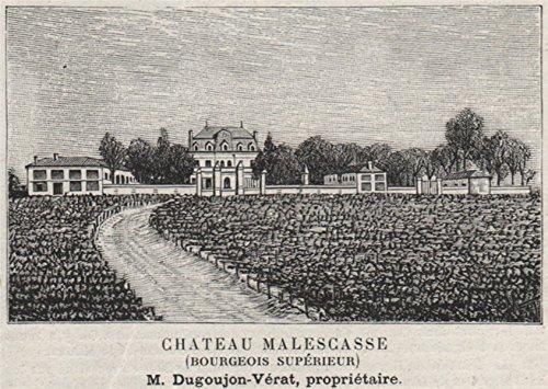 MÉDOC. LAMARQUE. Chateau Malescasse (Bourgeois Supérieur). Bordeaux. SMALL - 1908 - old print - antique print - vintage print - Gironde art prints