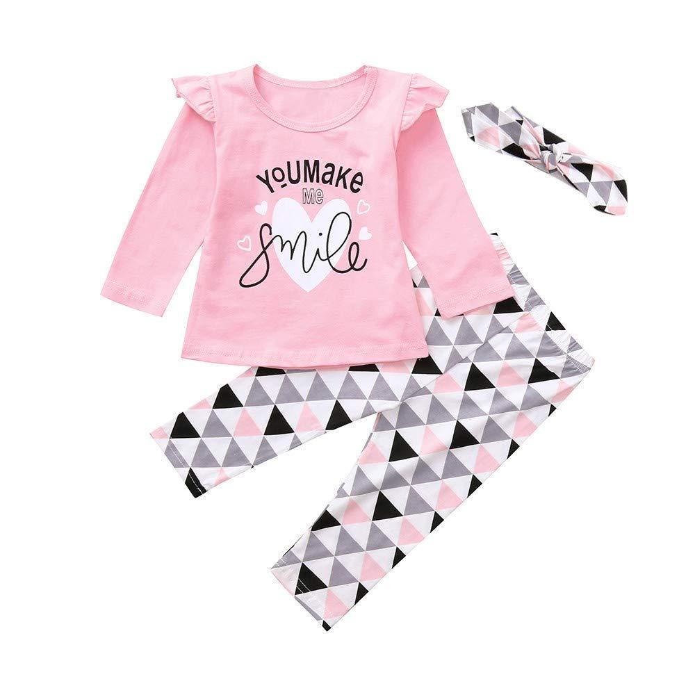 Hut 3PCS Outfits Obestseller Kinder Unisex,Sommerkleidung f/ür Kinder,Neugeborenes Baby Kleidung Brief drucken Strampler Tops Lange Hosen