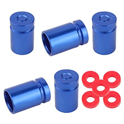 Winka 5 Pcs Aluminum Bullet Style Wheel Tire Valve Stem Caps Blue: Automotive