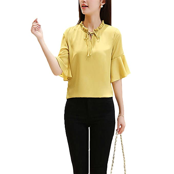 Mujeres Trompeta Mangas Lotus Leaf Collar Loose Chiffon Blusa Shirt Top,Yellow-L