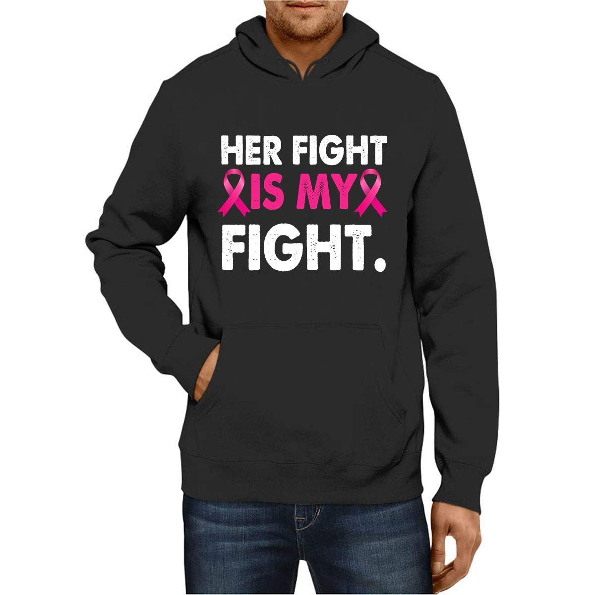 iSovo Hoodies Her Fight is My Fight Breast Cancer Pink Men Women Tshirt